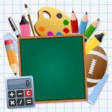 Dra tillbaka till den svart tavlan för skolagräsplan stock illustrationer