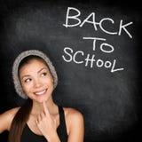 Dra tillbaka till den svart tavlan för skolan - att tänka för kvinnastudent Royaltyfria Bilder