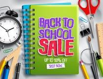 Dra tillbaka till designen för befordran för rabatten för banret för skolaförsäljningsvektorn med försäljningstext stock illustrationer