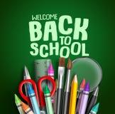 Dra tillbaka till designen f?r skolavektorbanret Välkommen baksida till skola som hälsar text med färgrika skolaobjekt vektor illustrationer