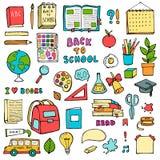 Dra tillbaka till drog klotter för skolan handen ställer in med knapphändiga symboler för tillförselutbildning på vit bakgrund royaltyfri illustrationer