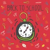 Dra tillbaka till drog klotterkortet för skolan handen med ringklockan stock illustrationer