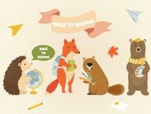 Dra tillbaka till för teckenutbildning för skolan den djura designen royaltyfri illustrationer