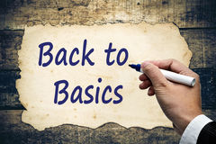 Dra tillbaka till grunderna som text skriver Arkivbild