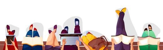 Dra tillbaka till högskola- eller studentvektorillustrationen stock illustrationer