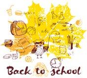 Dra tillbaka till höstliga sidor för skolan affischen Arkivfoto