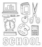 Dra tillbaka till klotter för anteckningsboken för skolatillförsel knapphändiga vektor illustrationer