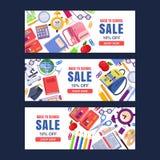 Dra tillbaka till mallen för banret för skolaförsäljningsvektorn Utbildningsbakgrundsuppsättning med brevpappertillförsel royaltyfri illustrationer