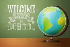 Dra tillbaka till mallen för skolabanret, med jordklotet Royaltyfri Fotografi