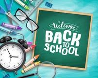 Dra tillbaka till mallen f?r skolavektorbakgrund Välkommen baksida till skola som hälsar text royaltyfria foton