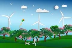 Dra tillbaka till naturen och spara miljöbegreppet, det lyckliga barnet som spelar draken i ängen med hunden, pappers- konstdesig arkivfoto