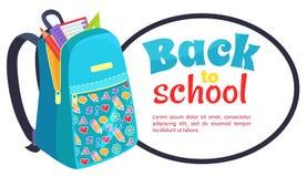 Dra tillbaka till skolaaffischen med den trendiga ryggsäcken stock illustrationer