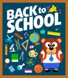 Dra tillbaka till skolabakgrund med björnen Royaltyfri Bild