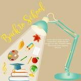Dra tillbaka till skolabakgrund med brevpapper och objekt stock illustrationer