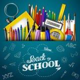 Dra tillbaka till skolabakgrund med brevpapper- och skolatillförsel royaltyfri illustrationer