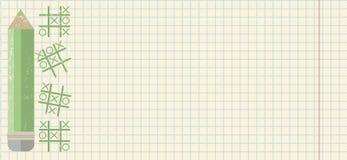 Dra tillbaka till skolabakgrund med den gröna blyertspennan Arkivbild