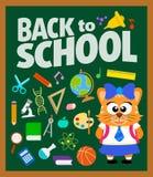Dra tillbaka till skolabakgrund med katten Royaltyfri Bild