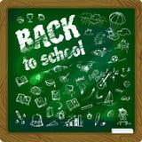 Dra tillbaka till skolabakgrund på svart tavlavektorillustration 1 Royaltyfri Illustrationer
