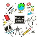 Dra tillbaka till skolabanret med skolatillförsel vektor illustrationer