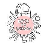 Dra tillbaka till skolabanret med textur från den färgrika linjen konstsymboler av av utbildning, vetenskapsobjekt och kontorstil stock illustrationer
