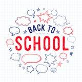 Dra tillbaka till skolabokstäver- och anförandebubblor Arkivfoto