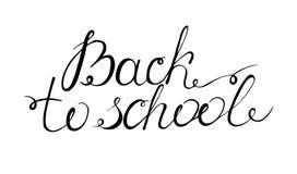 Dra tillbaka till skolabokstäver uttrycket är skriftligt vid handen royaltyfri illustrationer