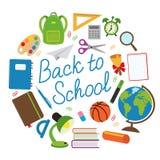 Dra tillbaka till skolacirkeln med skolatillförsel Arkivfoton