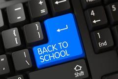 Dra tillbaka till skolacloseUpen av den blåa tangentbordtangenten 3d Arkivbild