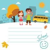 Dra tillbaka till skoladesignen med ungar Royaltyfri Foto