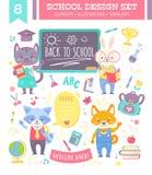 Dra tillbaka till skoladesignuppsättningen med djur stock illustrationer