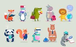 Dra tillbaka till skoladjur handen drog stil, utbildningstema gulliga tecken Björn, pingvin, flodhäst, panda, räv och andra Arkivbilder