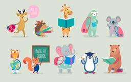 Dra tillbaka till skoladjur handen drog stil, utbildningstema gulliga tecken Björn, sengångare, pingvin, elefant och andra Arkivbilder
