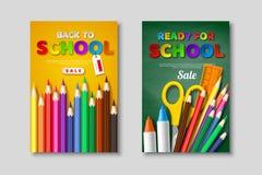 Dra tillbaka till skolaförsäljningsaffischer med realistiska tillförsel för skolan 3d och bokstäver för papperssnittstil Affisch  Arkivbild