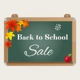 Dra tillbaka till skolaförsäljningsbakgrund med den realistisk svart tavla, höstsidor, äpplet och text stock illustrationer