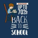 Dra tillbaka till skolaförsäljningsbanret med en unge som läser en bok på stolen royaltyfri illustrationer