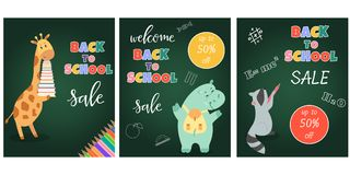 Dra tillbaka till skolaförsäljningsbanret med gulliga djur stock illustrationer