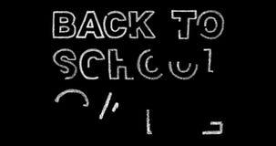 Dra tillbaka till skolaförsäljningstext på svart bakgrund lager videofilmer