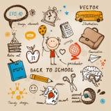 Dra tillbaka till skolaillustrationen Vektor Illustrationer