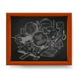 Dra tillbaka till skolaillustrationen som dras i krita på svart tavla Arkivbild