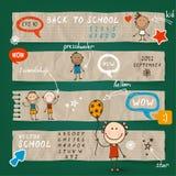 Dra tillbaka till skolaillustrationuppsättningen Stock Illustrationer