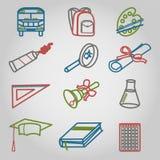 Dra tillbaka till skolakontursymboler uppsättningen Arkivfoto