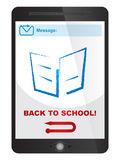 Dra tillbaka till skolameddelandet på minnestavlaskärmen Arkivfoto