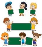 Dra tillbaka till skolamellanrumsmallen med ungen stock illustrationer
