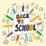 Dra tillbaka till skolan, affischen med hand-drog klotter, blyertspennor, uppsättningen av skolasymboler, banret, inbjudankort, t stock illustrationer