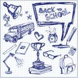 Dra tillbaka till skolan - den drog handen vektor illustrationer