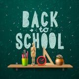 Dra tillbaka till skolan, mall med skolaworkspace Arkivbilder