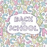 Dra tillbaka till skolan med bokstavsmodellen Royaltyfria Bilder