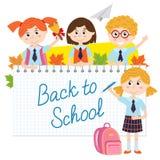 Dra tillbaka till skolan med elever Royaltyfri Bild