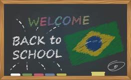 Dra tillbaka till skolan med lära och barndombegrepp Baner med en inskrift med kritavälkomnandet tillbaka till skolan och Brazien stock illustrationer