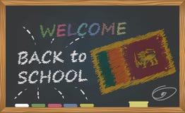 Dra tillbaka till skolan med lära och barndombegrepp Baner med en inskrift med kritavälkomnandet tillbaka till skola och Srien L stock illustrationer